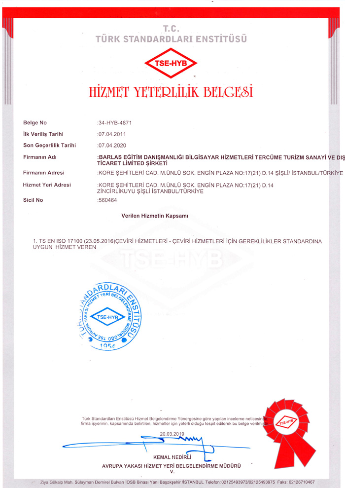 ISO 17100 Çeviri Standartı